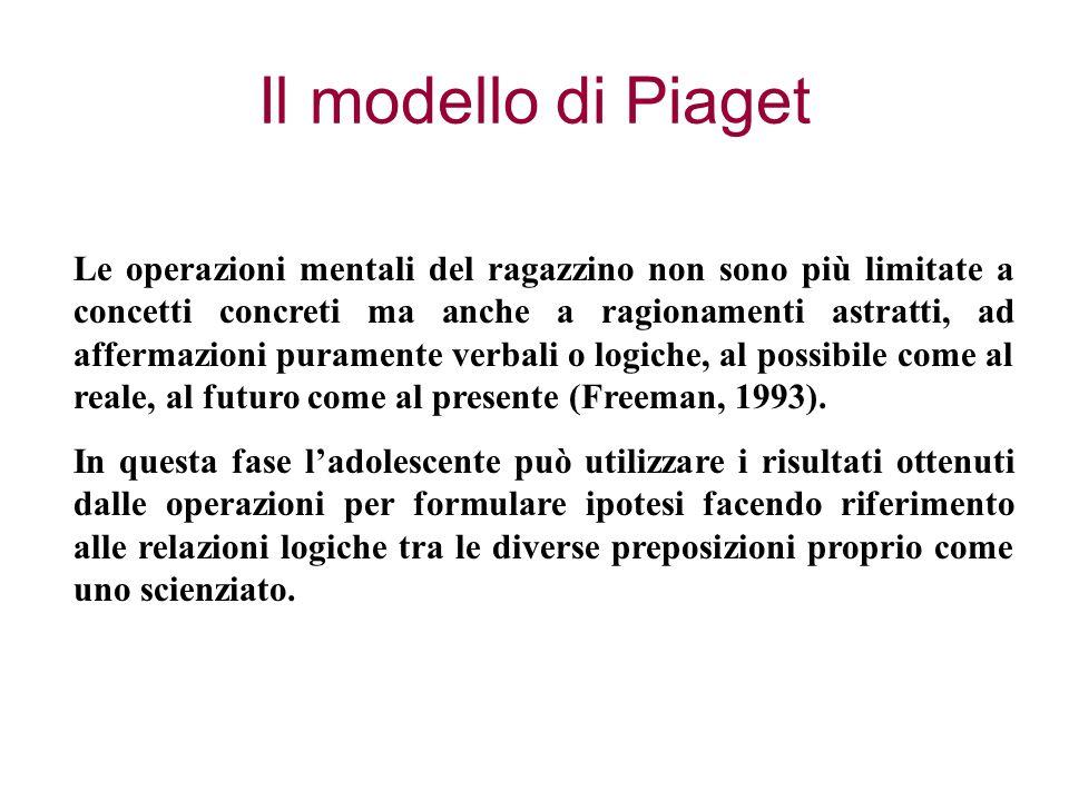 Il modello di Piaget Le operazioni mentali del ragazzino non sono più limitate a concetti concreti ma anche a ragionamenti astratti, ad affermazioni puramente verbali o logiche, al possibile come al reale, al futuro come al presente (Freeman, 1993).