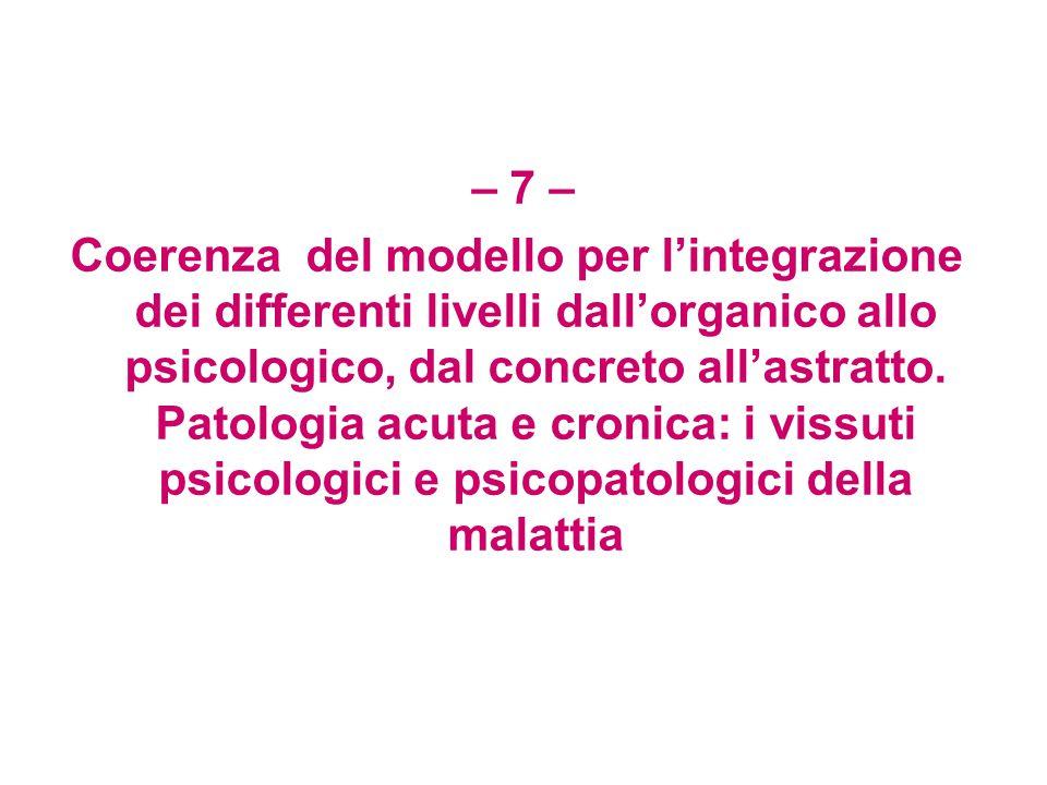 – 7 – Coerenza del modello per l'integrazione dei differenti livelli dall'organico allo psicologico, dal concreto all'astratto.