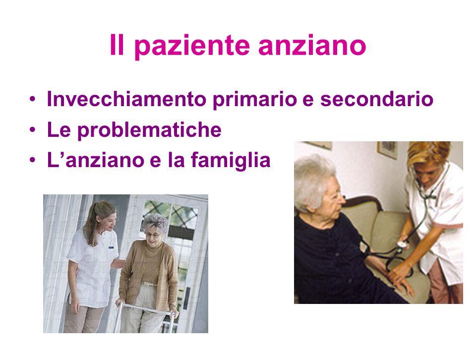 Il paziente anziano Invecchiamento primario e secondario Le problematiche L'anziano e la famiglia