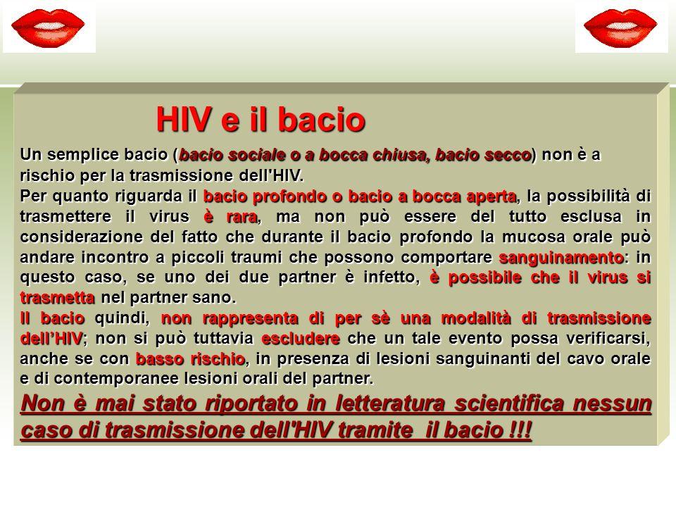 HIV e il bacio Un semplice bacio (bacio sociale o a bocca chiusa, bacio secco) non è a rischio per la trasmissione dell'HIV. Per quanto riguarda il ba