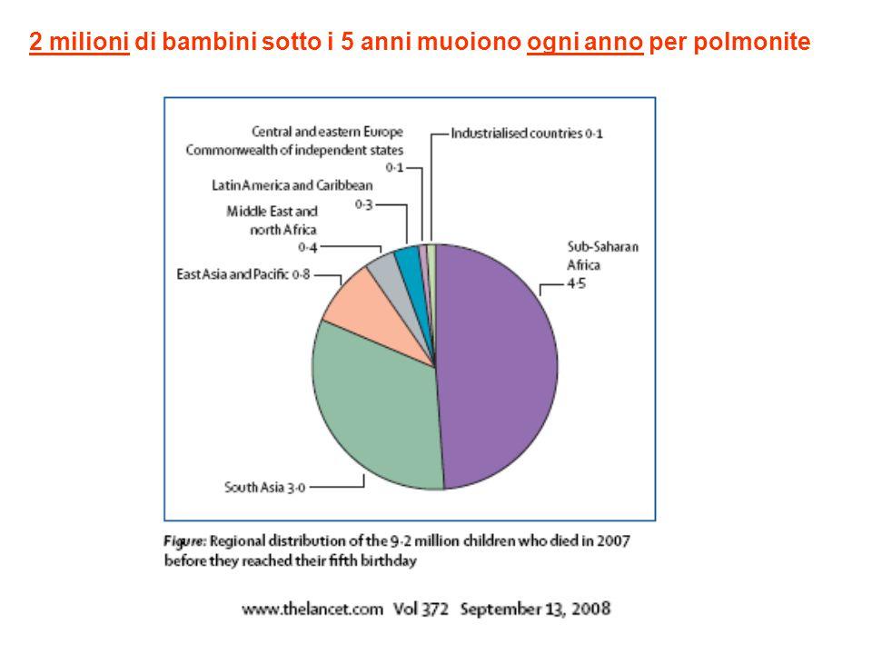 2 milioni di bambini sotto i 5 anni muoiono ogni anno per polmonite