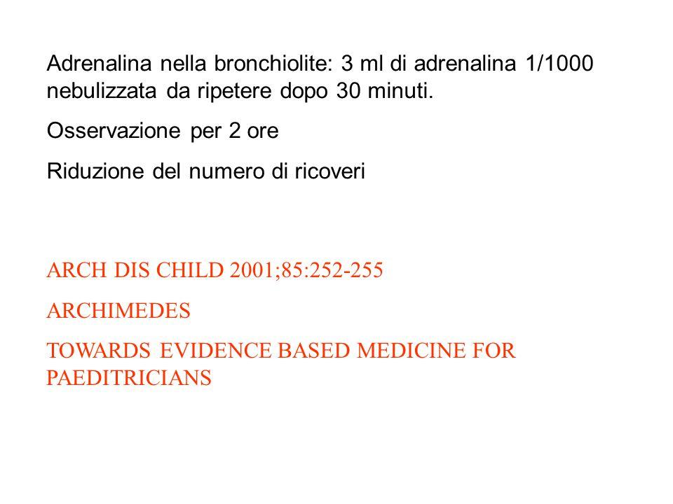 ARCH DIS CHILD 2001;85:252-255 ARCHIMEDES TOWARDS EVIDENCE BASED MEDICINE FOR PAEDITRICIANS Adrenalina nella bronchiolite: 3 ml di adrenalina 1/1000 nebulizzata da ripetere dopo 30 minuti.