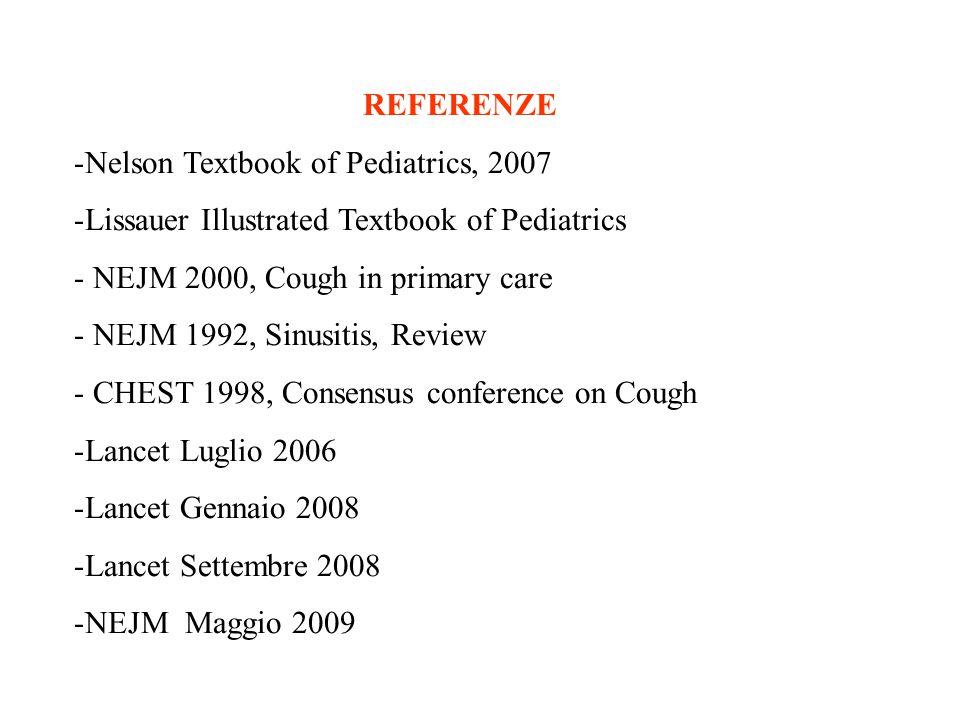 REFERENZE -Nelson Textbook of Pediatrics, 2007 -Lissauer Illustrated Textbook of Pediatrics - NEJM 2000, Cough in primary care - NEJM 1992, Sinusitis,