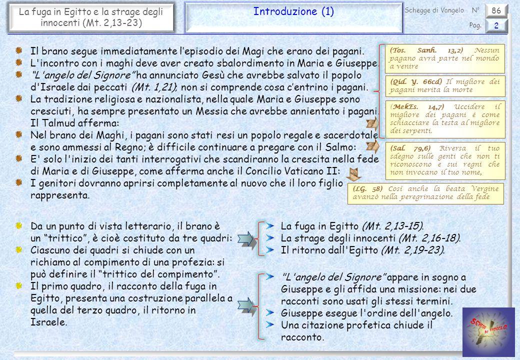 86 La fuga in Egitto e la strage degli innocenti (Mt. 2,13-23) Introduzione (1) 2 Pag. Schegge di VangeloN° Il brano segue immediatamente l'episodio d