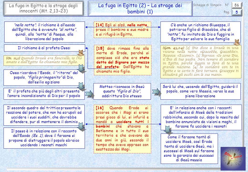 """86 La fuga in Egitto e la strage degli innocenti (Mt. 2,13-23) La fuga in Egitto (2) – La strage dei bambini (1) 5 Pag. Schegge di VangeloN° """"nella no"""