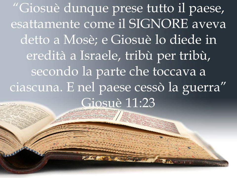 Giosuè dunque prese tutto il paese, esattamente come il SIGNORE aveva detto a Mosè; e Giosuè lo diede in eredità a Israele, tribù per tribù, secondo la parte che toccava a ciascuna.