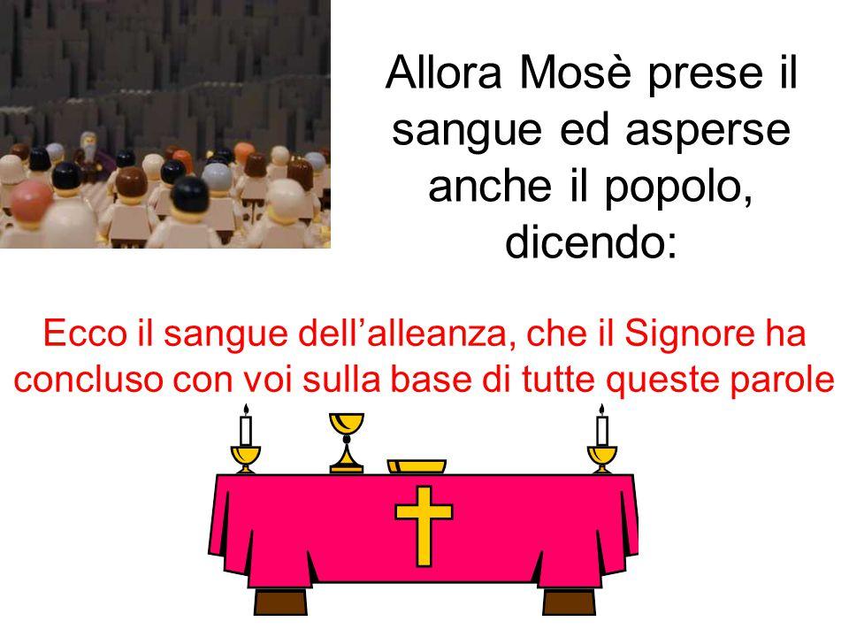 Allora Mosè prese il sangue ed asperse anche il popolo, dicendo: Ecco il sangue dell'alleanza, che il Signore ha concluso con voi sulla base di tutte