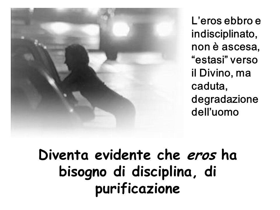 """L'eros ebbro e indisciplinato, non è ascesa, """"estasi"""" verso il Divino, ma caduta, degradazione dell'uomo Diventa evidente che eros ha bisogno di disci"""