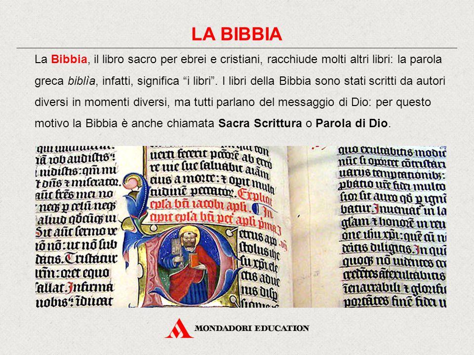 La Bibbia, il libro sacro per ebrei e cristiani, racchiude molti altri libri: la parola greca biblìa, infatti, significa i libri .