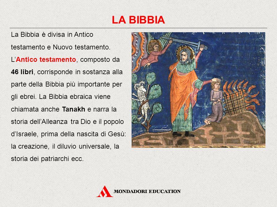 LA BIBBIA La Bibbia è divisa in Antico testamento e Nuovo testamento. L'Antico testamento, composto da 46 libri, corrisponde in sostanza alla parte de