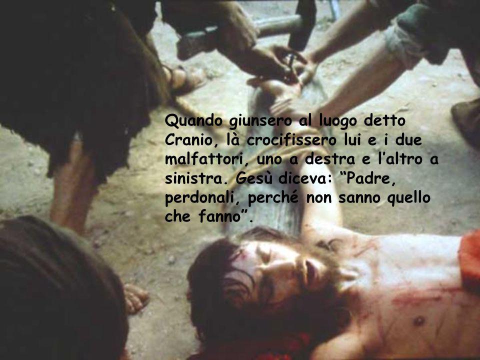 """Quando giunsero al luogo detto Cranio, là crocifissero lui e i due malfattori, uno a destra e l'altro a sinistra. Gesù diceva: """"Padre, perdonali, perc"""