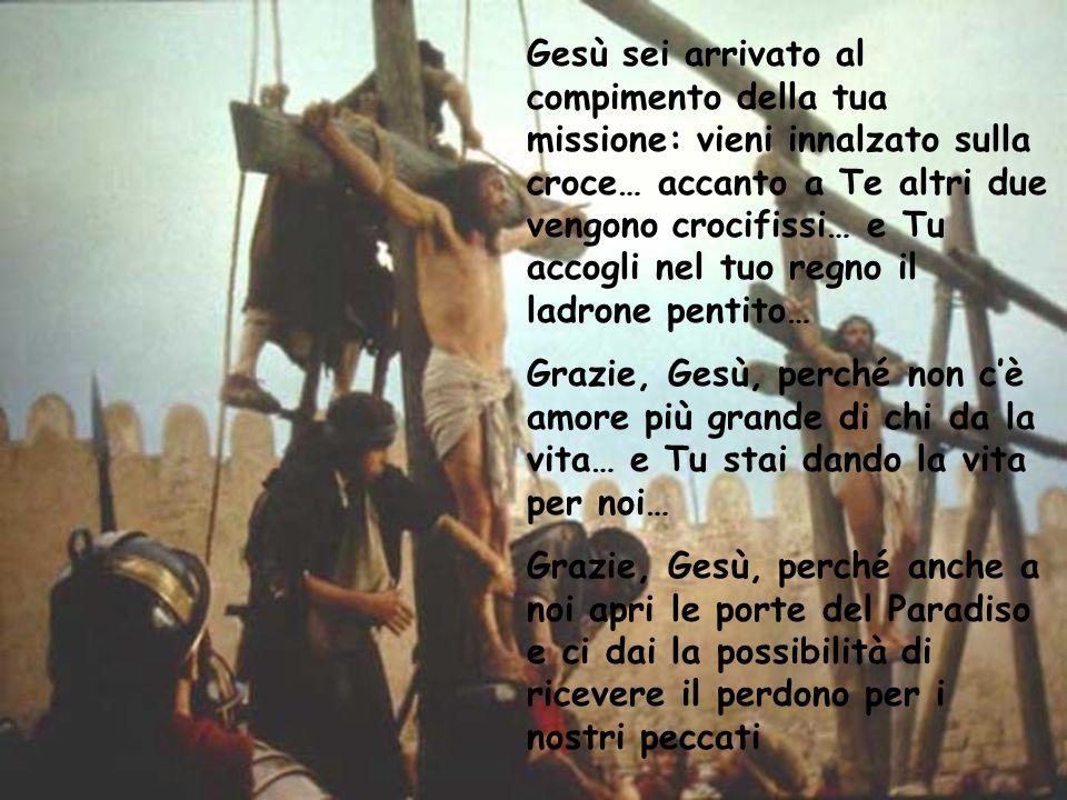 Gesù sei arrivato al compimento della tua missione: vieni innalzato sulla croce… accanto a Te altri due vengono crocifissi… e Tu accogli nel tuo regno