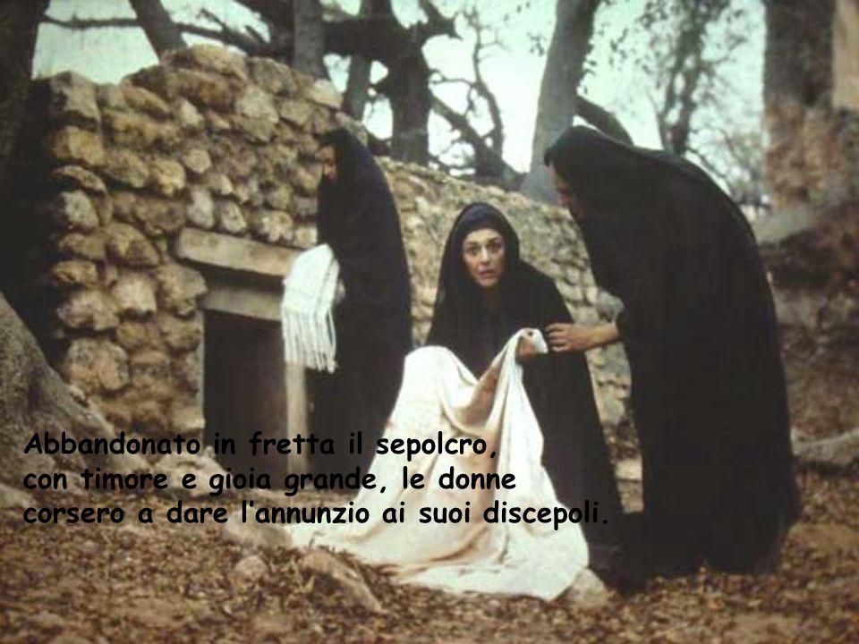 Abbandonato in fretta il sepolcro, con timore e gioia grande, le donne corsero a dare l'annunzio ai suoi discepoli.