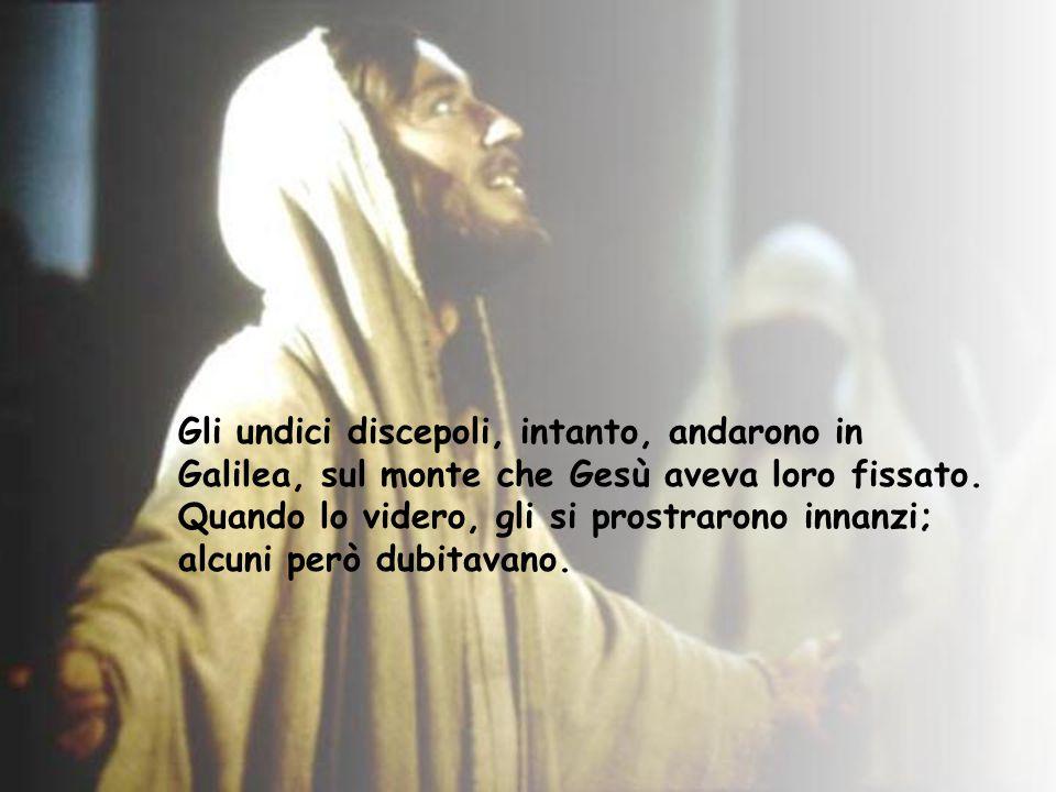 Gli undici discepoli, intanto, andarono in Galilea, sul monte che Gesù aveva loro fissato. Quando lo videro, gli si prostrarono innanzi; alcuni però d