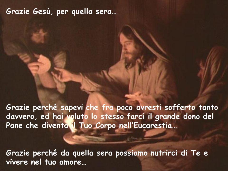 Grazie Gesù, per quella sera… Grazie perché sapevi che fra poco avresti sofferto tanto davvero, ed hai voluto lo stesso farci il grande dono del Pane