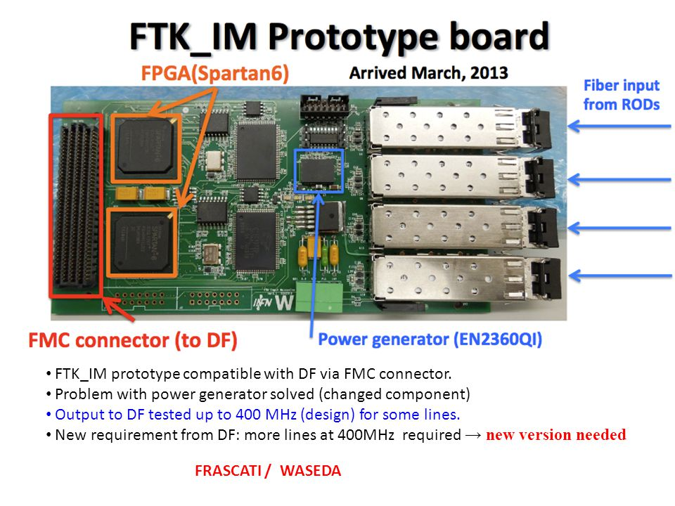 FTK_IM prototype compatible with DF via FMC connector.
