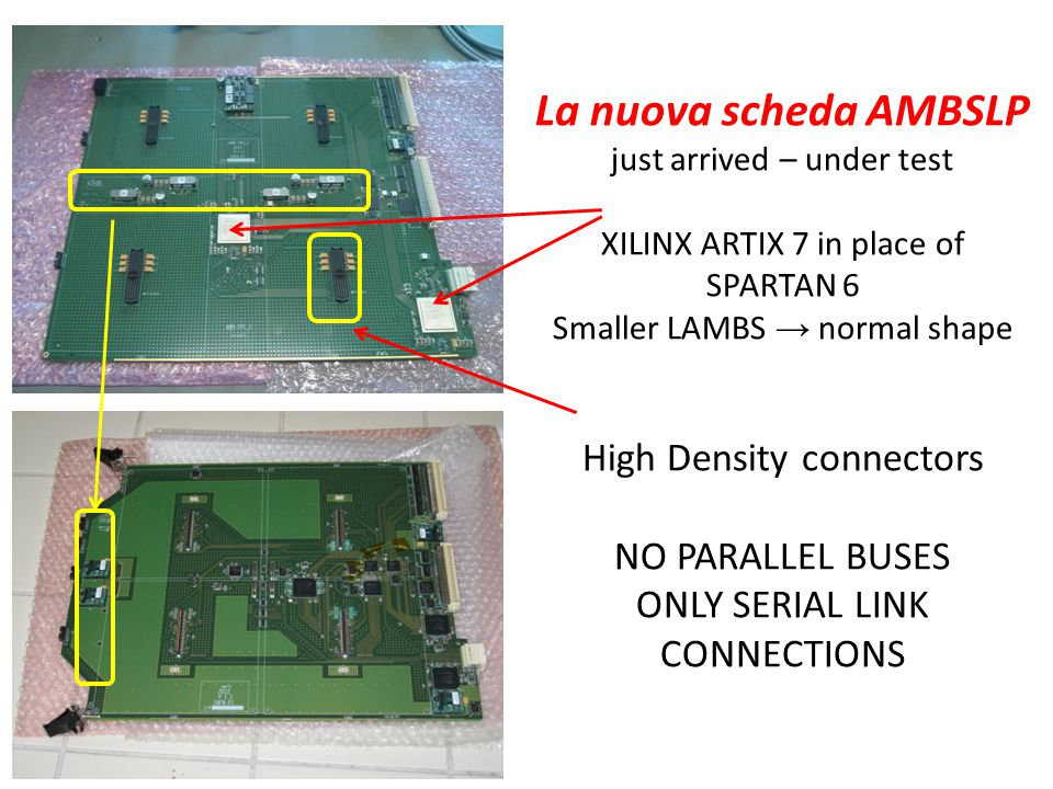 La nuova scheda AMBSLP just arrived – under test XILINX ARTIX 7 in place of SPARTAN 6 Smaller LAMBS → normal shape High Density connectors NO PARALLEL BUSES ONLY SERIAL LINK CONNECTIONS