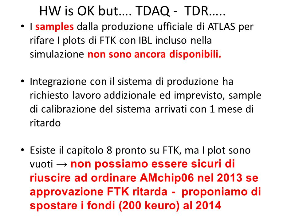 HW is OK but…. TDAQ - TDR…..