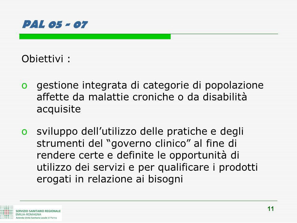 11 PAL 05 - 07 Obiettivi : ogestione integrata di categorie di popolazione affette da malattie croniche o da disabilità acquisite osviluppo dell'utili