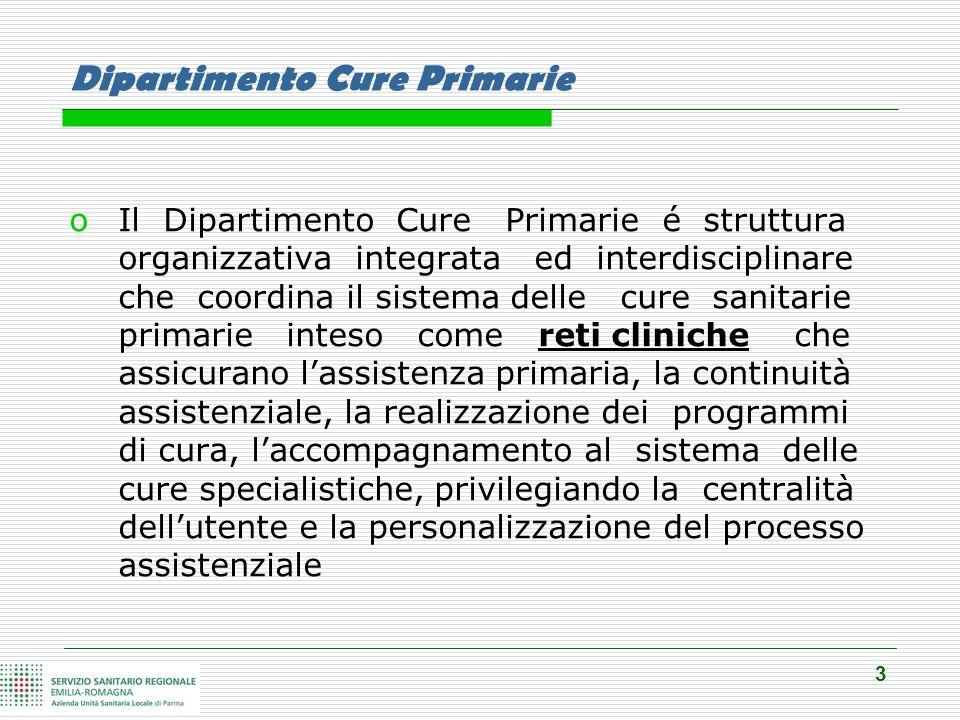 3 Dipartimento Cure Primarie oIl Dipartimento Cure Primarie é struttura organizzativa integrata ed interdisciplinare che coordina il sistema delle cur
