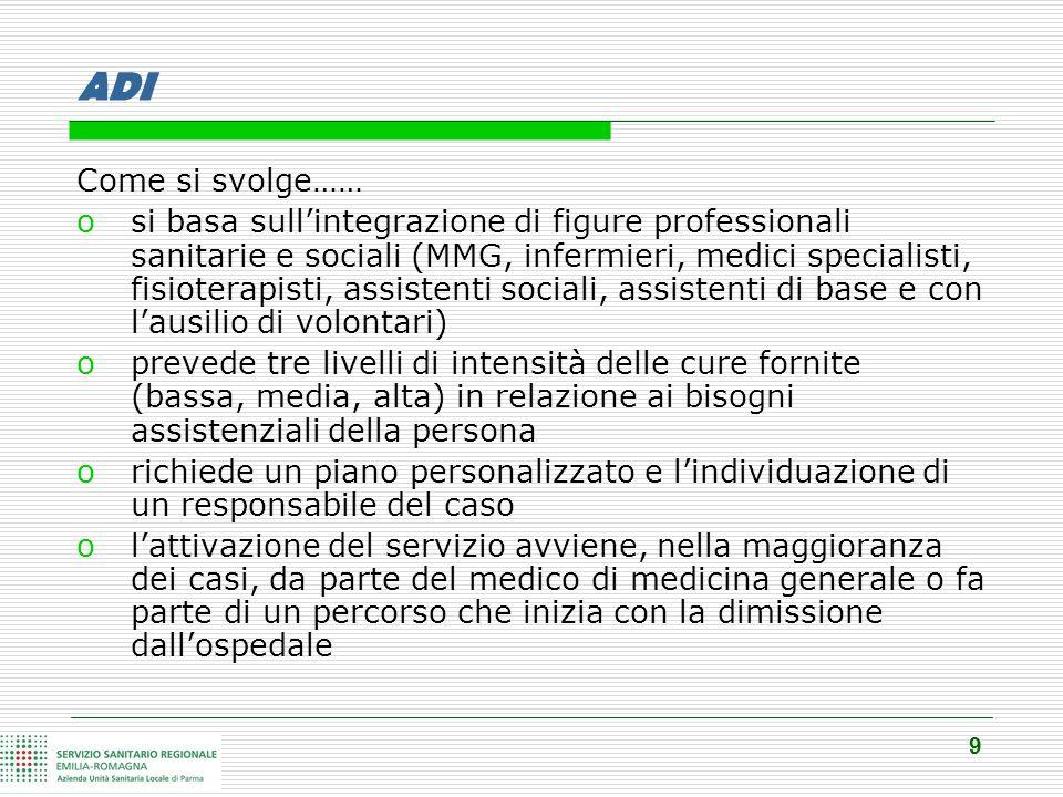 9 ADI Come si svolge…… osi basa sull'integrazione di figure professionali sanitarie e sociali (MMG, infermieri, medici specialisti, fisioterapisti, as