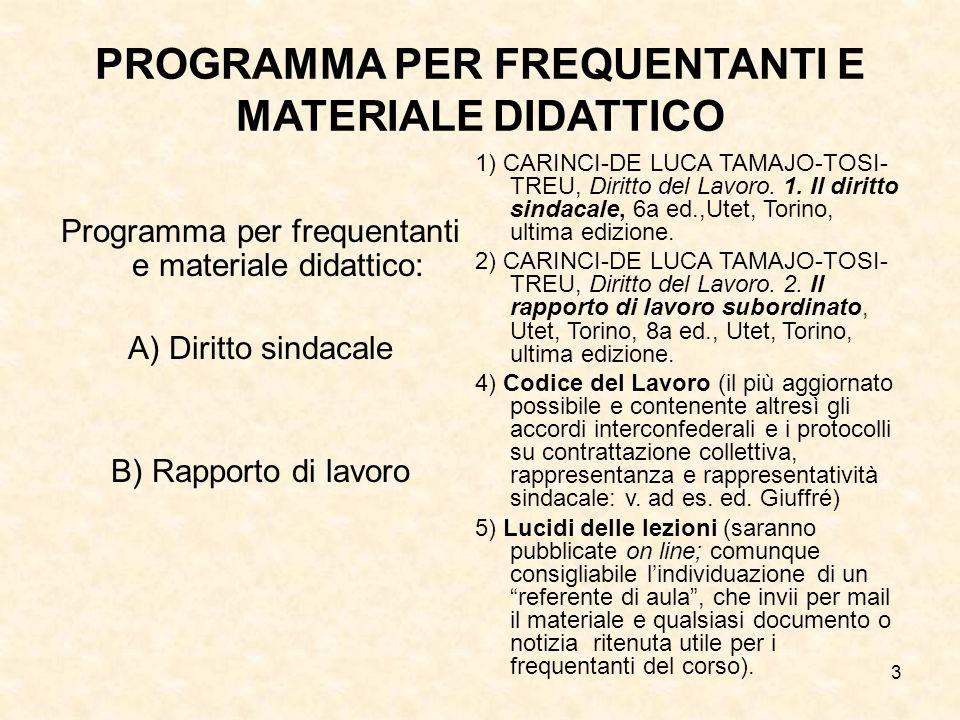 3 PROGRAMMA PER FREQUENTANTI E MATERIALE DIDATTICO Programma per frequentanti e materiale didattico: A) Diritto sindacale B) Rapporto di lavoro 1) CAR