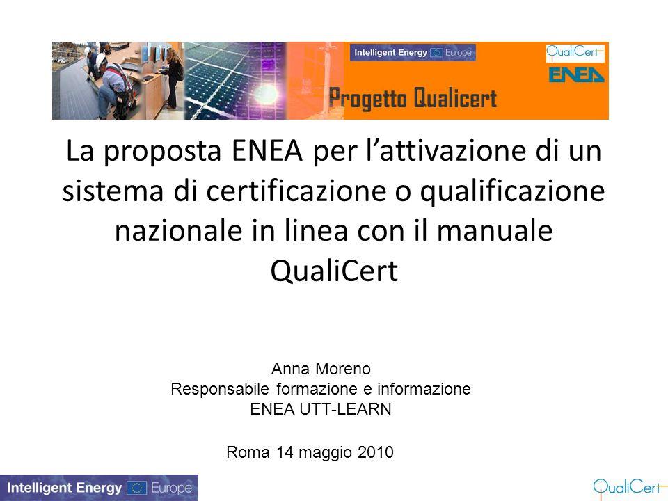 La proposta ENEA per l'attivazione di un sistema di certificazione o qualificazione nazionale in linea con il manuale QualiCert Anna Moreno Responsabi