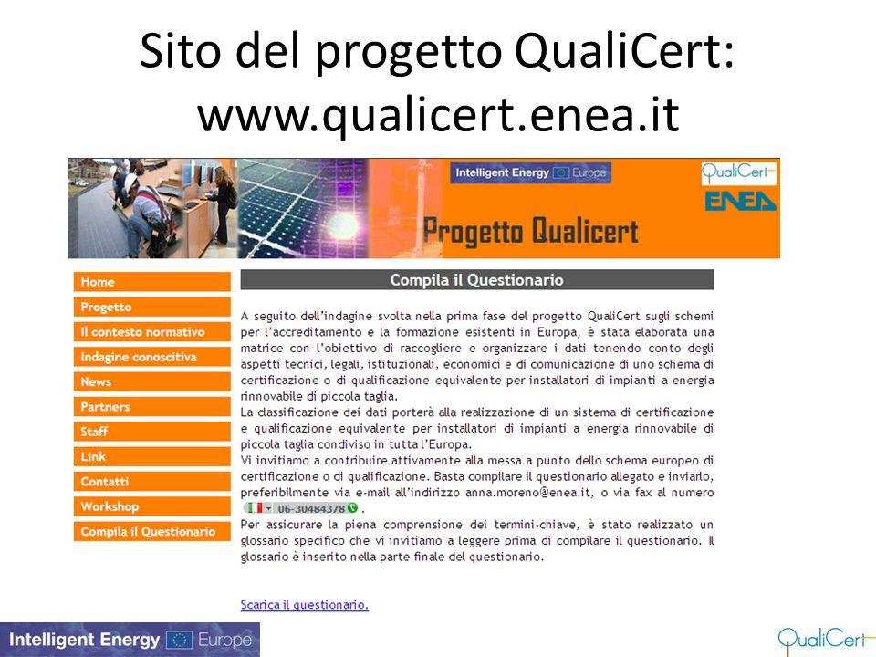 Sito del progetto QualiCert: www.qualicert.enea.it