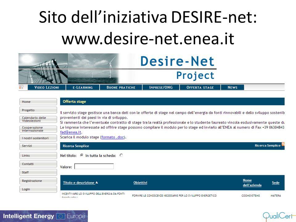 Sito dell'iniziativa DESIRE-net: www.desire-net.enea.it