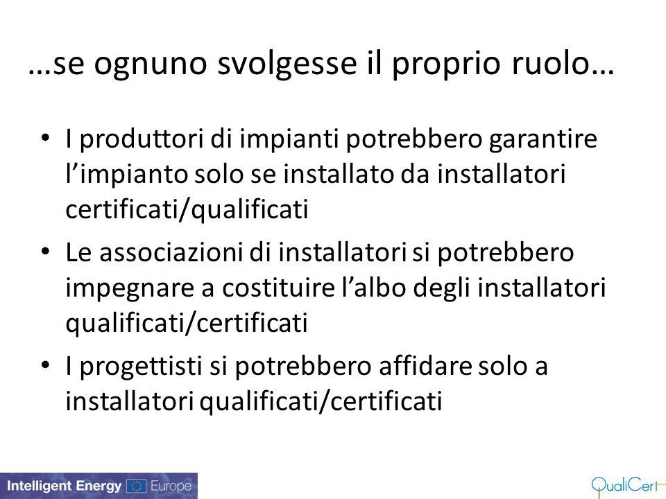…se ognuno svolgesse il proprio ruolo… I produttori di impianti potrebbero garantire l'impianto solo se installato da installatori certificati/qualifi