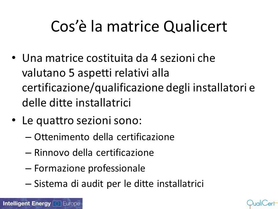 Cos'è la matrice Qualicert Una matrice costituita da 4 sezioni che valutano 5 aspetti relativi alla certificazione/qualificazione degli installatori e