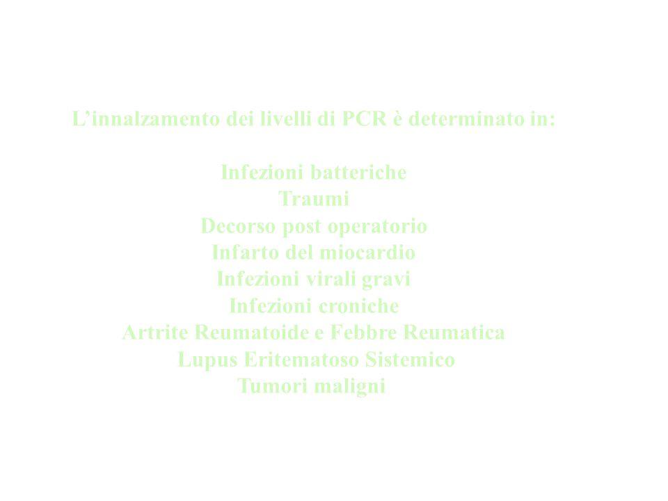 L'innalzamento dei livelli di PCR è determinato in: Infezioni batteriche Traumi Decorso post operatorio Infarto del miocardio Infezioni virali gravi I