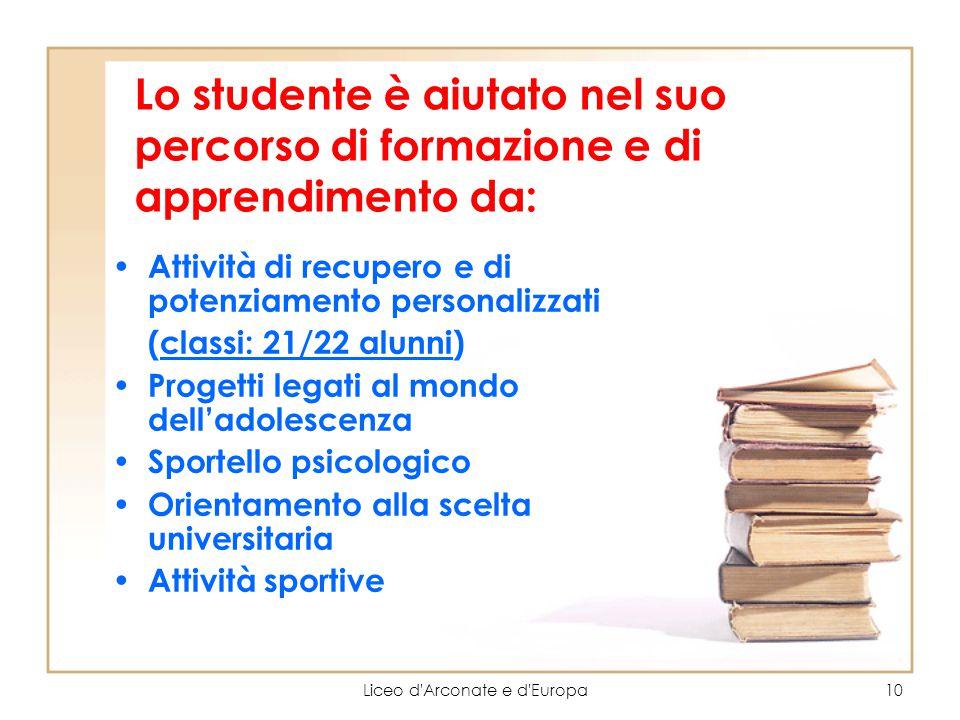 Liceo d'Arconate e d'Europa10 Lo studente è aiutato nel suo percorso di formazione e di apprendimento da: Attività di recupero e di potenziamento pers