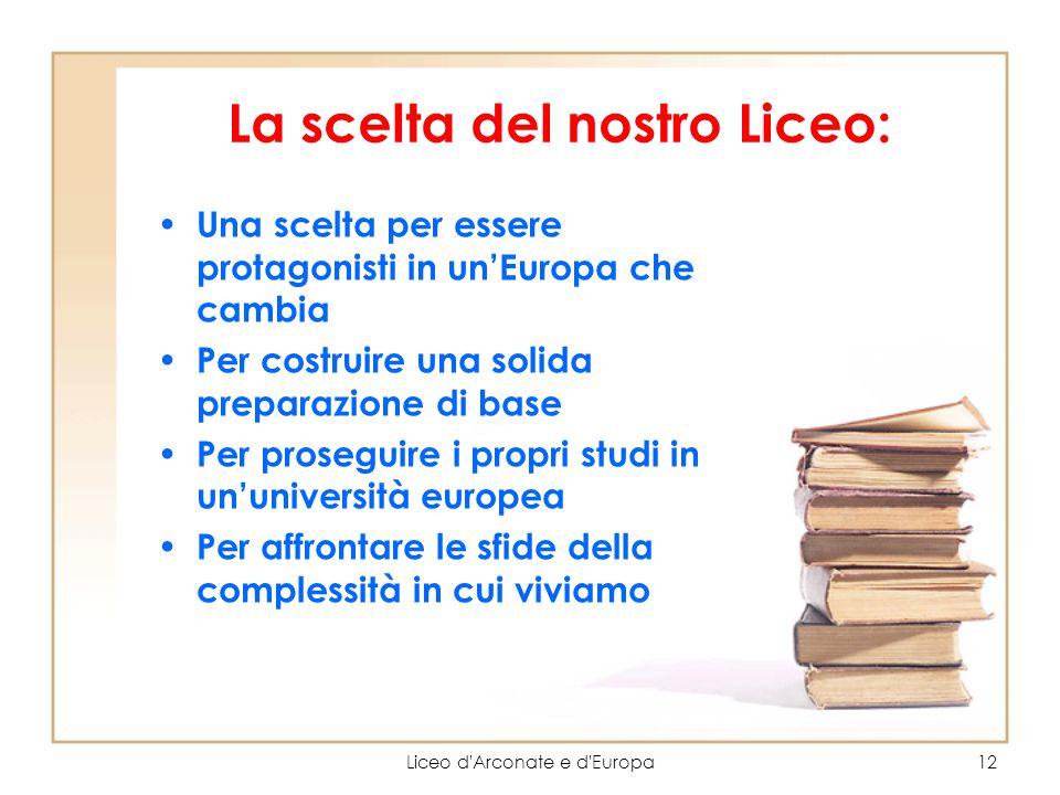 Liceo d'Arconate e d'Europa12 La scelta del nostro Liceo: Una scelta per essere protagonisti in un'Europa che cambia Per costruire una solida preparaz