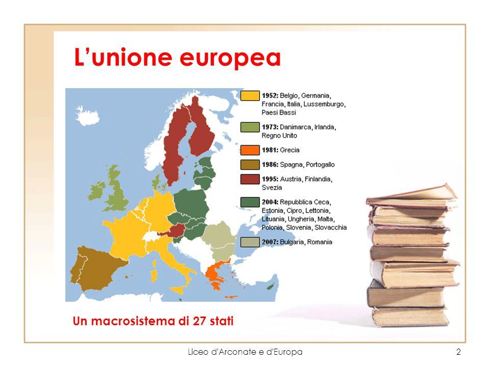 L'unione europea Liceo d'Arconate e d'Europa2 Un macrosistema di 27 stati