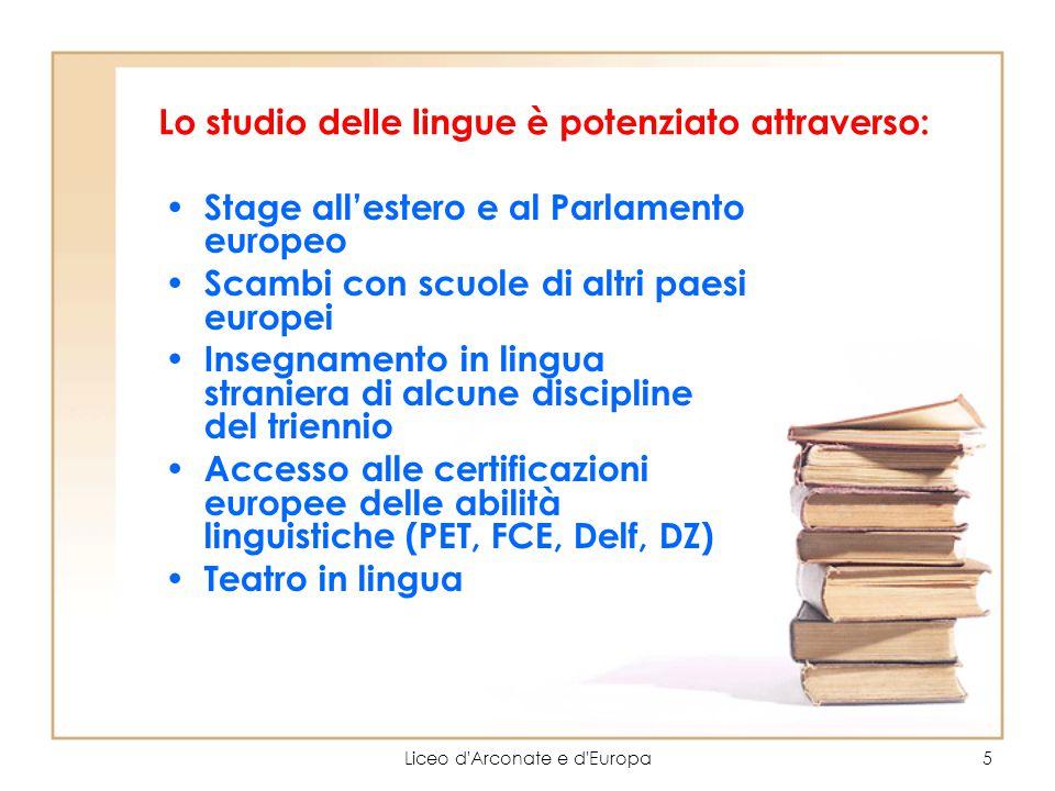Liceo d'Arconate e d'Europa5 Lo studio delle lingue è potenziato attraverso: Stage all'estero e al Parlamento europeo Scambi con scuole di altri paesi