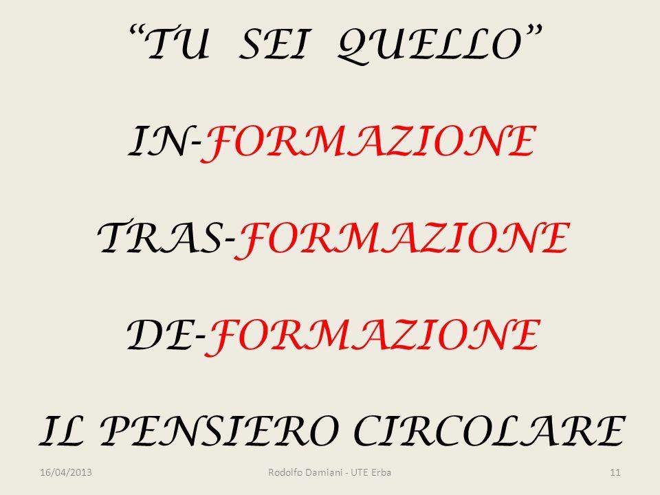 TU SEI QUELLO IN-FORMAZIONE TRAS-FORMAZIONE DE-FORMAZIONE IL PENSIERO CIRCOLARE 16/04/2013Rodolfo Damiani - UTE Erba11