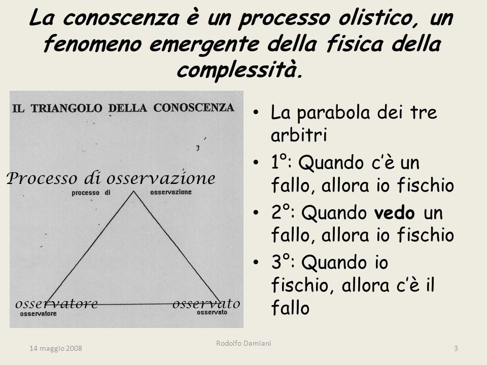 14 maggio 2008 Rodolfo Damiani 3 La conoscenza è un processo olistico, un fenomeno emergente della fisica della complessità.