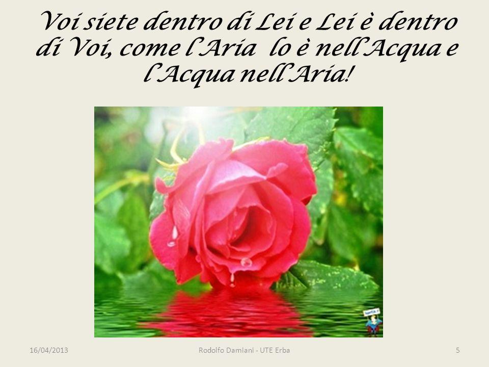 Voi siete dentro di Lei e Lei è dentro di Voi, come l'Aria lo è nell'Acqua e l'Acqua nell'Aria.