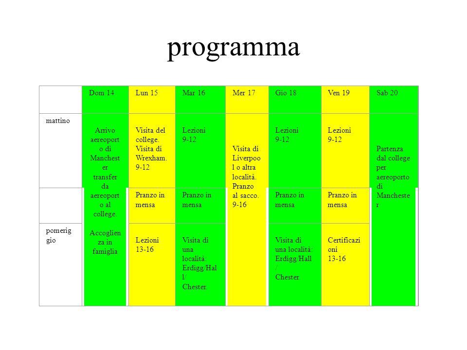 programma Dom 14Lun 15Mar 16Mer 17Gio 18Ven 19Sab 20 mattino Arrivo aereoport o di Manchest er transfer da aereoport o al college.