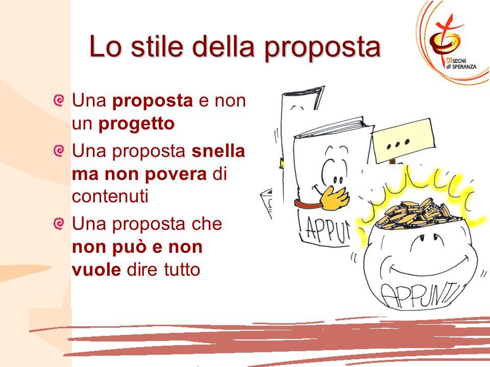 Lo stile della proposta Una proposta e non un progetto Una proposta snella ma non povera di contenuti Una proposta che non può e non vuole dire tutto