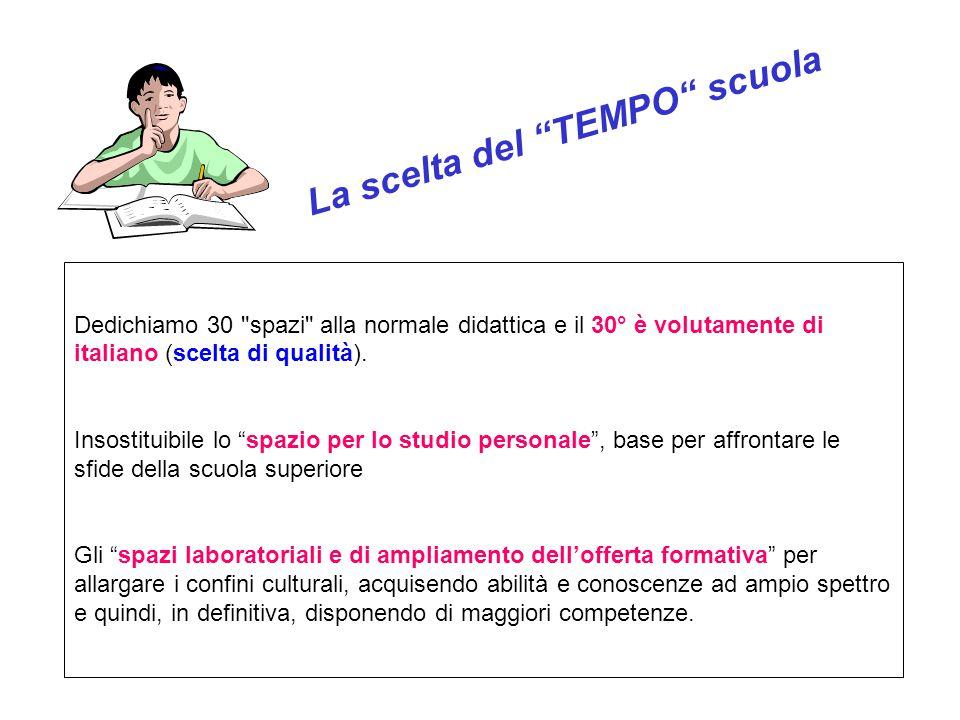 La scelta del TEMPO scuola Dedichiamo 30 spazi alla normale didattica e il 30° è volutamente di italiano (scelta di qualità).