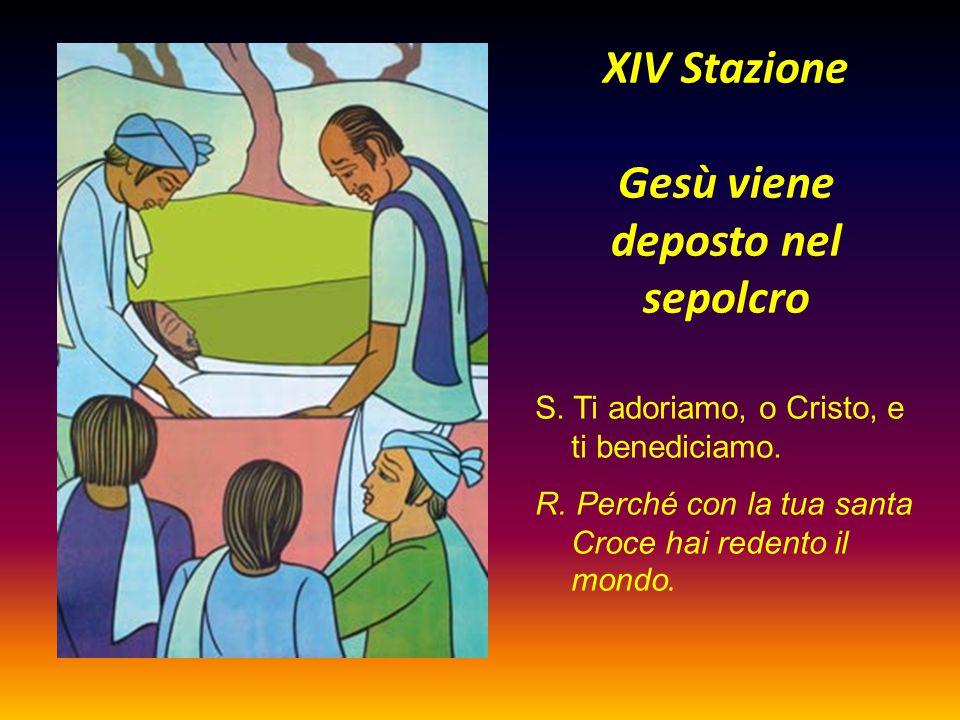XIV Stazione Gesù viene deposto nel sepolcro S. Ti adoriamo, o Cristo, e ti benediciamo. R. Perché con la tua santa Croce hai redento il mondo.