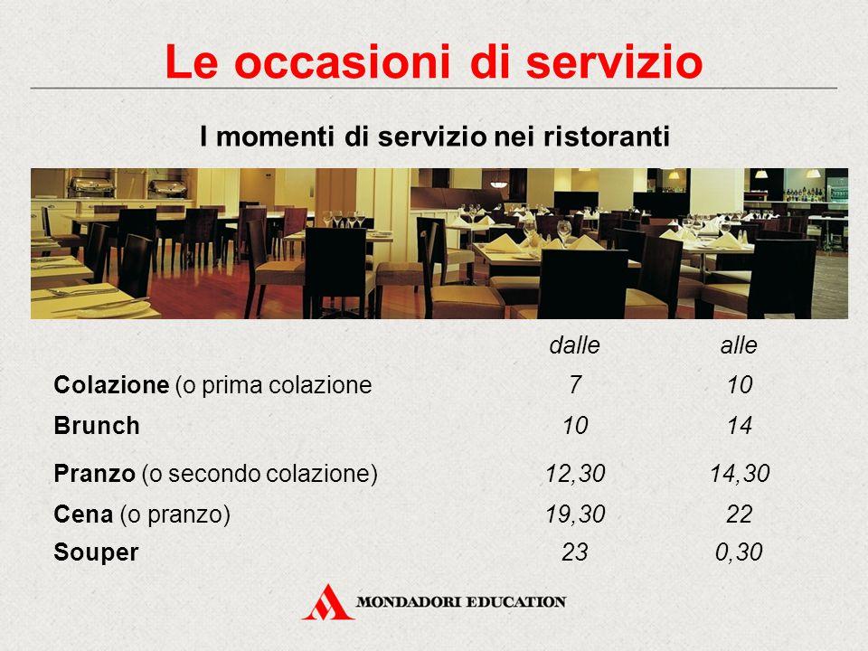 Le occasioni di servizio Il menu Il coordinamento tra i reparti