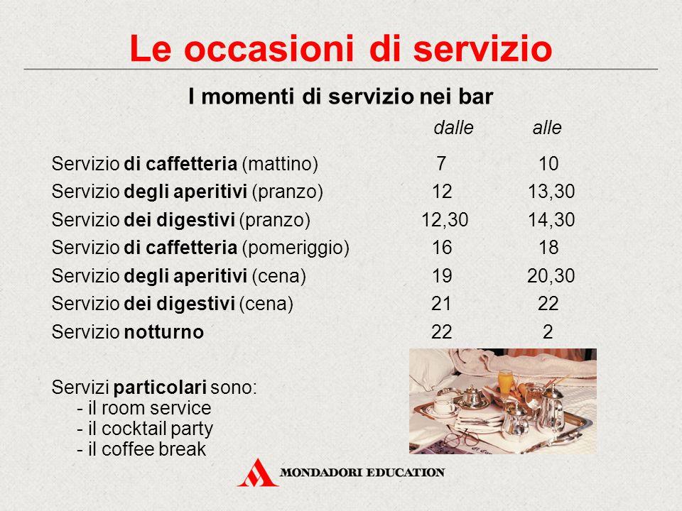 Le occasioni di servizio I momenti di servizio nei ristoranti dallealle Colazione (o prima colazione710 Brunch1014 Pranzo (o secondo colazione)12,3014