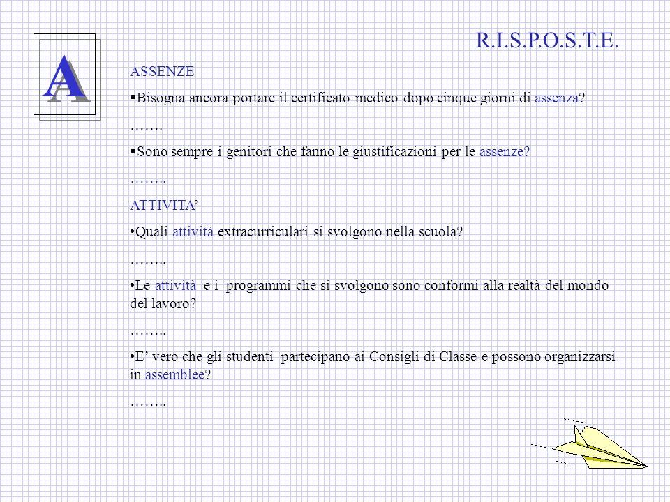 T T COME TITOLO DI STUDIO TUTOR TASSE SCOLASTICHE R.I.S.P.O.S.T.E.