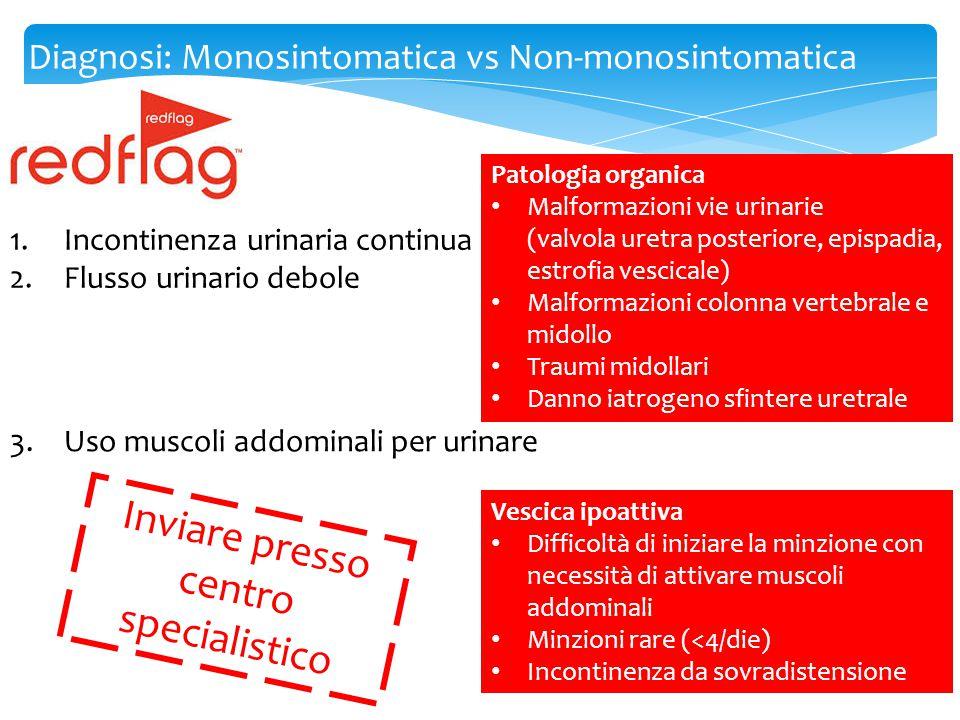 Diagnosi: Monosintomatica vs Non-monosintomatica 1.Incontinenza urinaria continua 2.Flusso urinario debole Inviare presso centro specialistico 3.Uso m