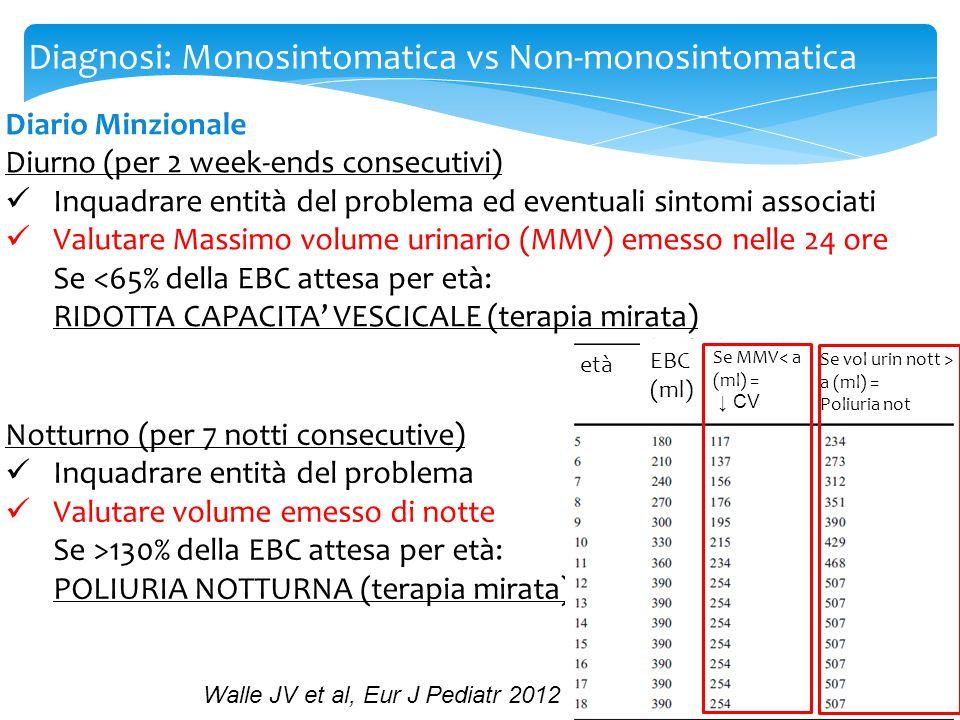 Diagnosi: Monosintomatica vs Non-monosintomatica Diario Minzionale Diurno (per 2 week-ends consecutivi) Inquadrare entità del problema ed eventuali si