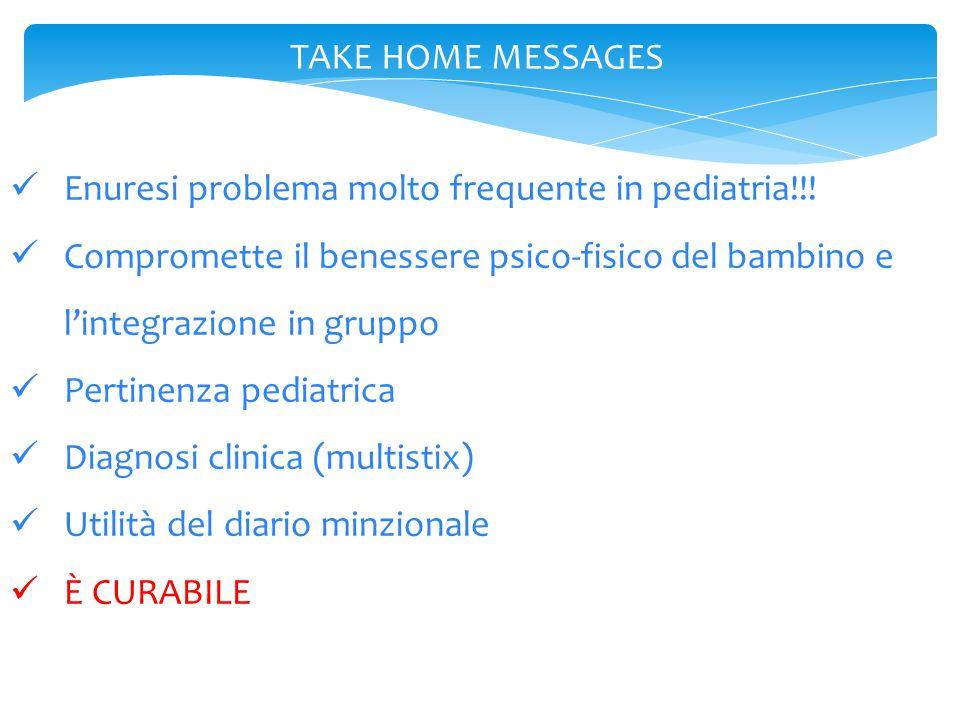 TAKE HOME MESSAGES Enuresi problema molto frequente in pediatria!!! Compromette il benessere psico-fisico del bambino e l'integrazione in gruppo Perti