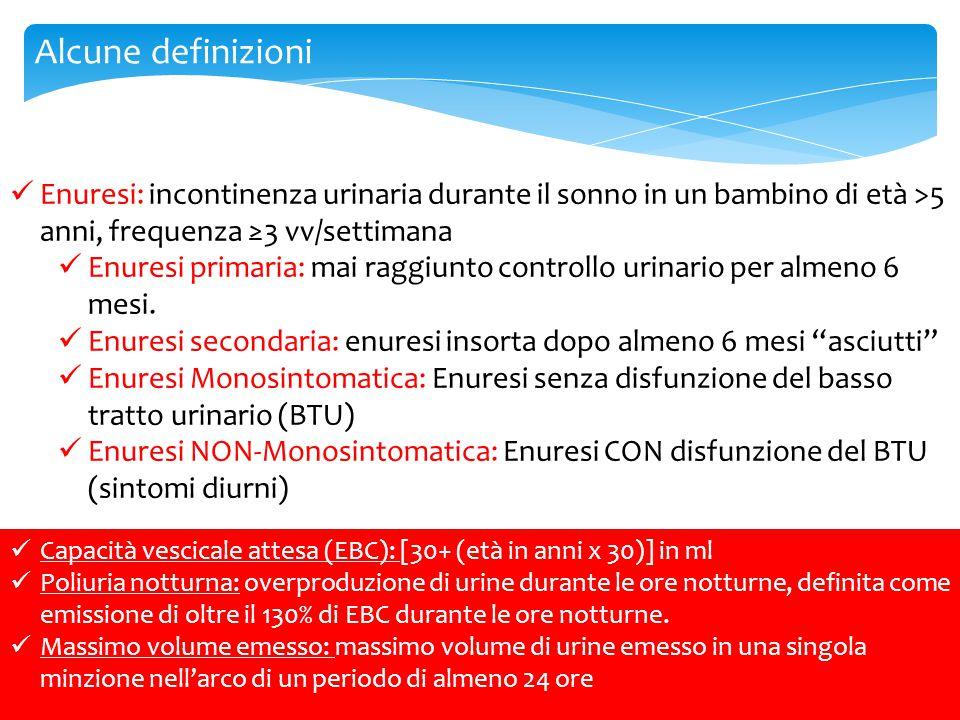 Alcune definizioni Enuresi: incontinenza urinaria durante il sonno in un bambino di età >5 anni, frequenza ≥3 vv/settimana Enuresi primaria: mai raggi